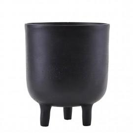 Cache-pot design noir métal alu House Doctor Jang H 18 cm