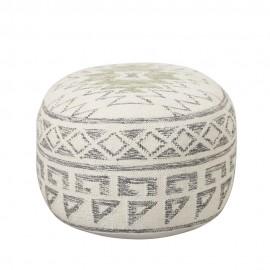 bloomingville terrain pouf rond laine blanc gris 82041251