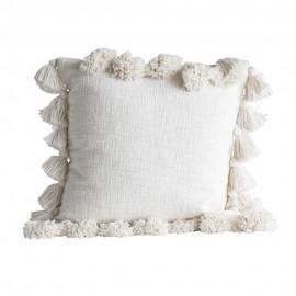 bloomingville chateau coussin pompons coton blanc 45 x 45 cm 82041098