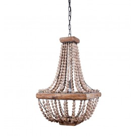 bloomingville terrain luminaire suspension perles de bois naturel 82041213