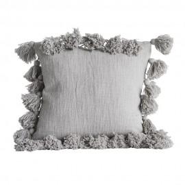 bloomingville coussin avec pompons coton gris 82041099