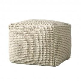 bloomingville fleur de sel pouf carre laine blanc ecru 82041184