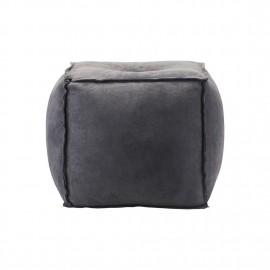 Pouf carré cuir daim gris bleu House Doctor Suede