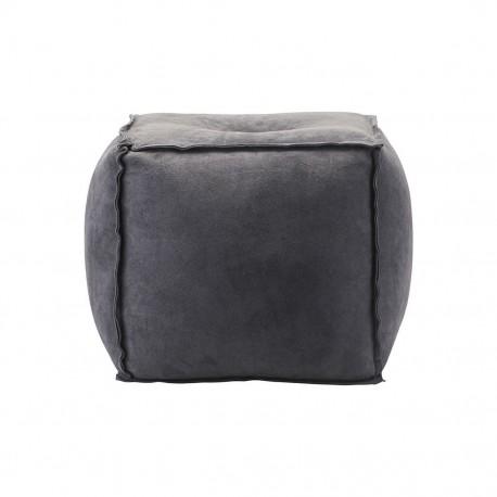 house doctor suede pouf carré cuir daim gris bleu Ae1953