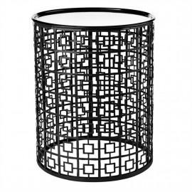 Table basse graphique métal noir plateau amovible Pols Potten Miami
