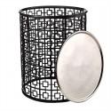 pols potten miami table basse ronde graphique metal noir plateau amovible 300-030-042