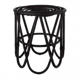 pols potten paperclip tabouret design rotin noir 520-030-012