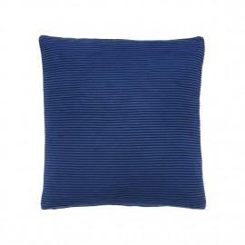 Coussin design carré bleu coton Hübsch