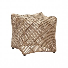 Tabouret cube design en rotin naturel Hübsch