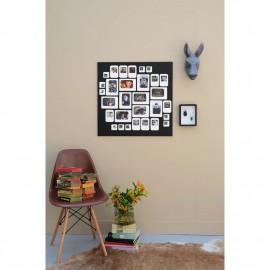 cadre photo mural pele mele carre magnetique noir blanc presse citron m30nb