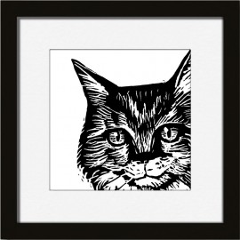 miho simply me illustration murale chat noir blanc cadre