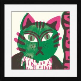 miho speachless tableau affiche chat vert cadre noir PRINTM471-N