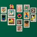 Tableau affiche chat vert cadre noir Miho Speachless