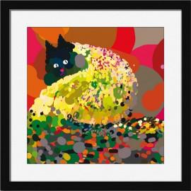 Affiche chat cadre noir Miho Autumn Leaves