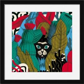 Affiche tableau chat cadre noir Miho Find me !