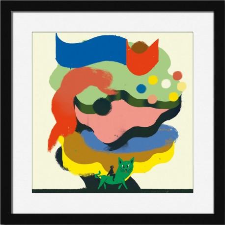 Affiche tableau chat cadre noir Miho Distant Shore