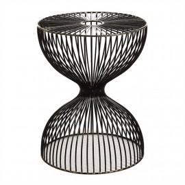 pols potten dumbbell tabouret design metal filaire noir 300-030-038