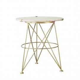 bloomingvile table d appoint ronde marbre blanc laiton fleur de sel
