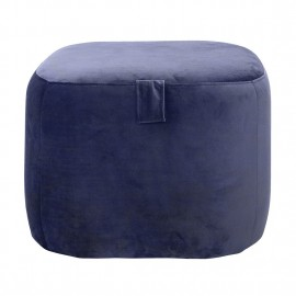 bloomingville bella pouf carre velours bleu 50218589