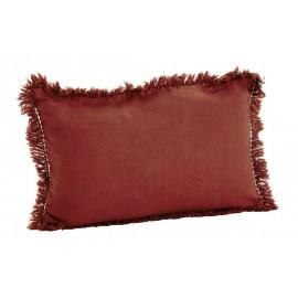madam stoltz housse de coussin lin delave franges orange 30 x 50 cm