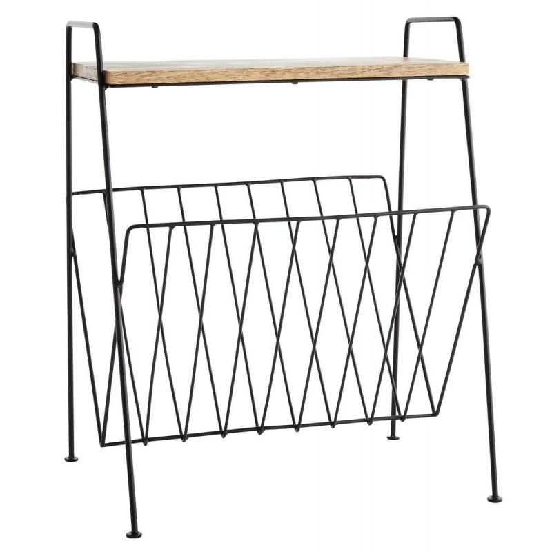 porte revues retro metal avec tablette bois madam stoltz. Black Bedroom Furniture Sets. Home Design Ideas