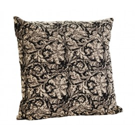 madam stoltz housse de coussin motif fleuri noir blanc 50 x 50 cm