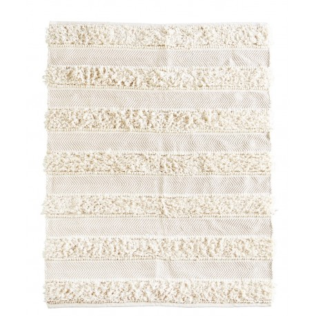 Madam Stoltz Tapis Chindi Blanc Ecru Et Dore Franges 120 X 180 Cm Kdesign