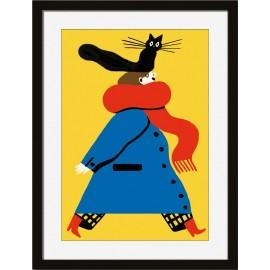 Affiche chat cadre noir Miho Catwalk
