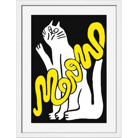 miho hi there dessin chat deco cadre blanc Printl-485b