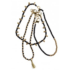 madam stoltz bracelet multiple perles noires et dorees