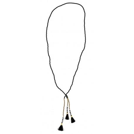 collier perles noires et pompons madam stoltz