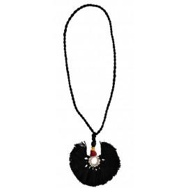 madam stoltz collier noir coton tresse ethnique