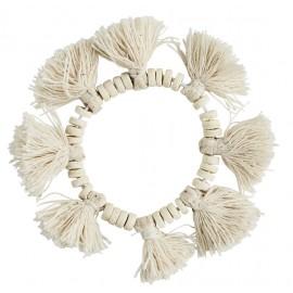 madam stoltz bracelet coton blanc pompons perles