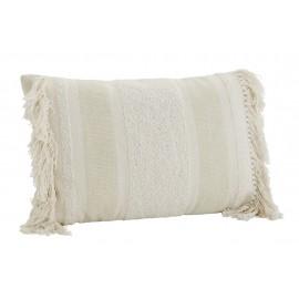 madam stoltz housse de coussin rectangulaire coton blanc franges