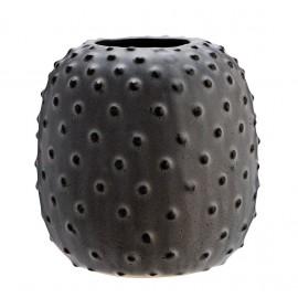 Petit vase rustique grès gris points Madam Stoltz