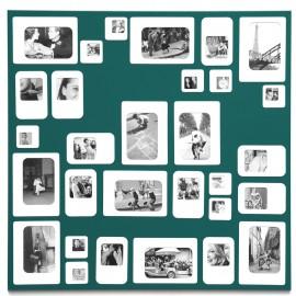 Pêle-mêle cadre photos mural carré métal vert Presse Citron M30