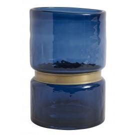 nordal ring vase verre bleu bande doree 8937