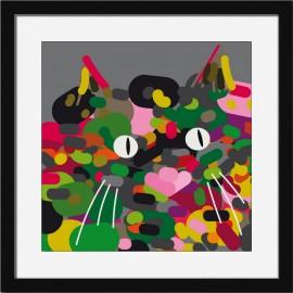 Illustration chat cadre carré noir Miho Scrambled
