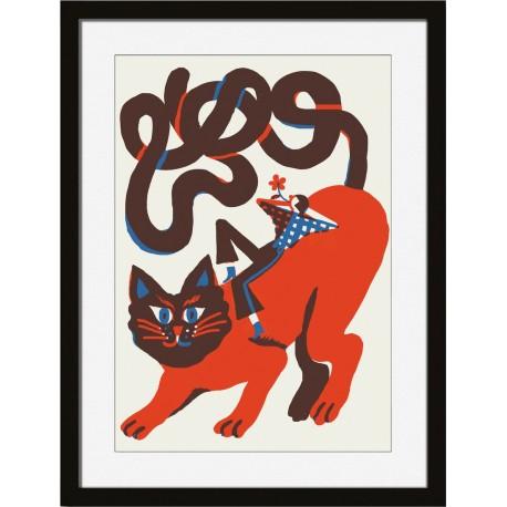 Tableau illustration chat cadre noir Miho Fiery Soul