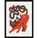 miho fiery soul tableau illustration chat cadre noir printl-483n