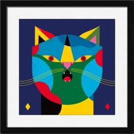 dessin chat graphique cadre noir miho selfie printm-466n