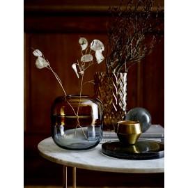 bloomingville vase verre souffle bicolore transparent jaune 31409687