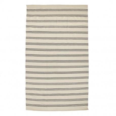bloomingville tapis coton rayures noir et blanc 32708240 - Kdesign