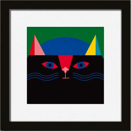 miho what petit tableau chat graphique cadre noir prints-461n