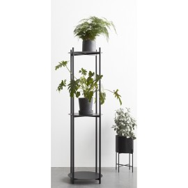 etagere plantes design a poser 3 tablettes metal noir hubsch