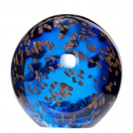 presse papier boule verre bleu or hubsch 160703