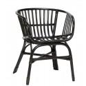 hubsch fauteuil rotin noir accoudoirs 310307
