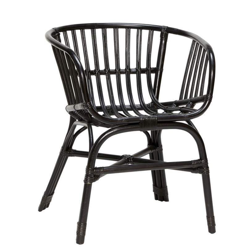 hubsch fauteuil rotin noir accoudoirs 310307. Black Bedroom Furniture Sets. Home Design Ideas