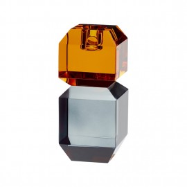 hubsch bougeoir verre cristal orange gris 340702