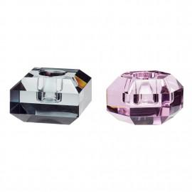 Bougeoir cube design verre cristal rose gris Hübsch set de 2